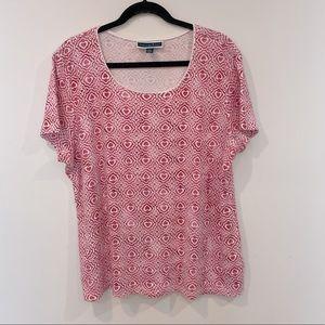 Karen Scott Red Heart Mixed-Print Basic T-Shirt